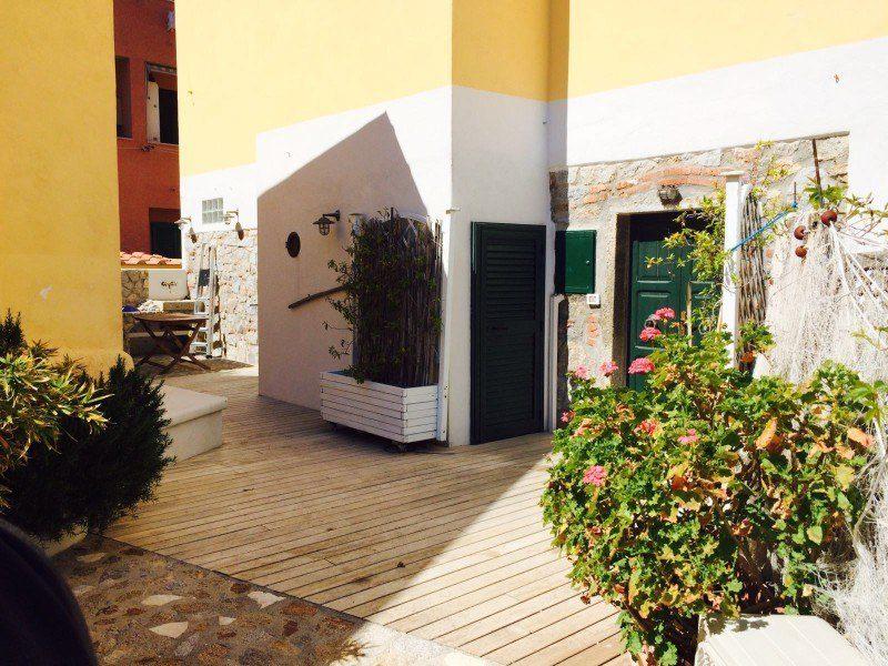 Zone esterna con piante ed ingresso del bilocale Giorgio in affitto a Giglio Porto