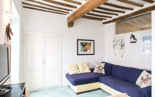 Soggiorno con vista divano di colore blu presso il bilocale Iris in Affitto a Giglio Porto