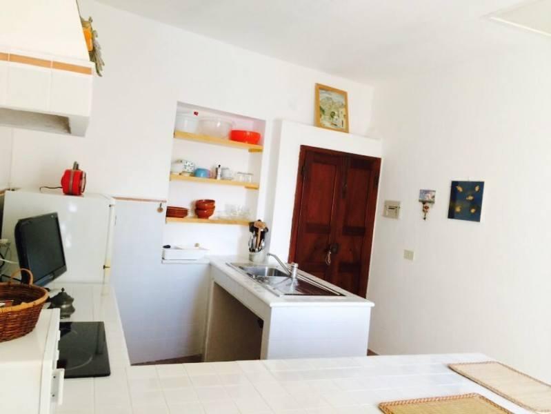 Parte di cucina con mobili e porta marrone sulla destra