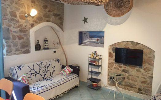 Divano, zona soggiorno e TV presso appartamento monolocale in affitto a Giglio Porto